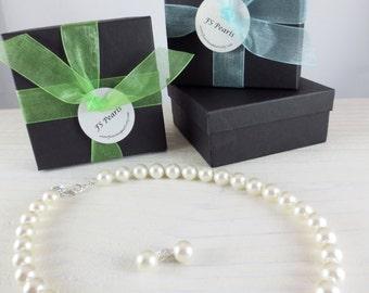 Bridesmaids Pearl Necklace, Bridesmaids Pearl Set,  Bridesmaids Jewelry Set, Bridesmaids Gift, Bridal Necklace, Bridesmaids Set