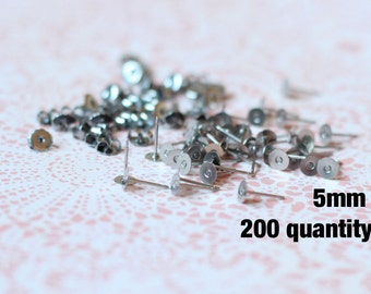 200 5mm Stainless Steel Earring Posts Flat Pad and Back 10.4mm long // Excellent Quality. No Breakage.
