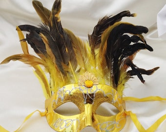 Half-face Masquerade Mask in Gold/Yellow With Full Black & Yellow Feathers/Mardi Gras Mask/Venetian Mask/Party Mask/New Orleans Carnival