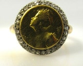 Authentic Art Nouveau French 18K Gold Diamonds PRINTEMPS Spring Fairy Lady Ring!
