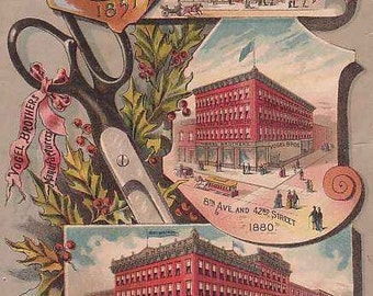 1887 VOGELS Department Store -  Full Color Litho TRADE CARD - New York City