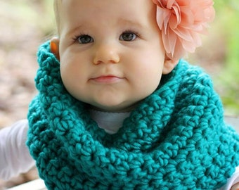 Crochet Turquoise Toddler Child Cowl Infinity Scarf