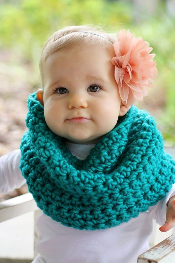 Crochet Infinity Scarf Pattern For Child : Crochet Turquoise Toddler Child Cowl Infinity Scarf