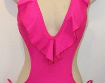 Ruffle Plunge V-neck Monokini with Waist Ties
