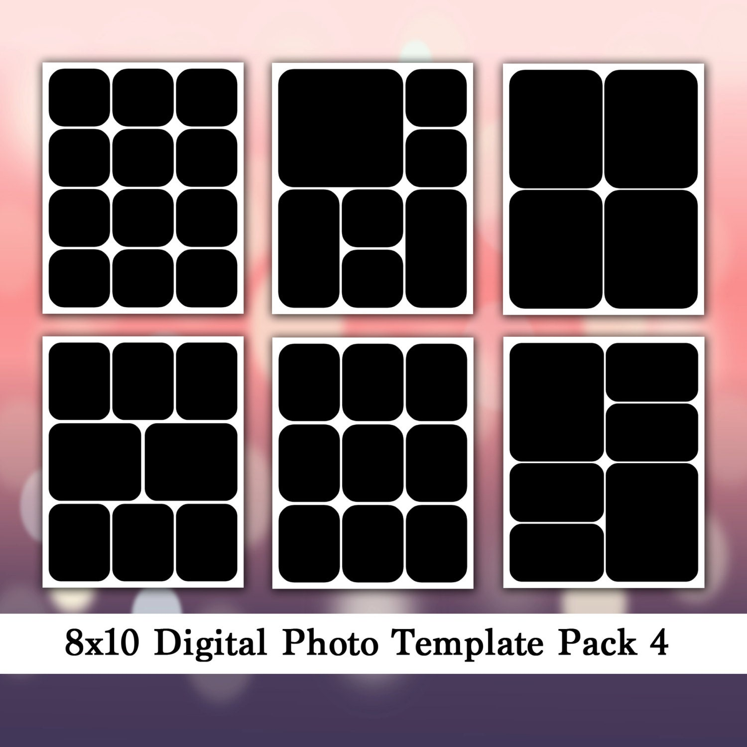 8x10 digital photo template pack photo collage storyboard. Black Bedroom Furniture Sets. Home Design Ideas