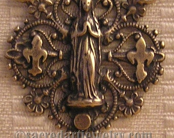 Virgin Mary Laced with Fleur de Lis Rosary Center - Sterling Silver, or True Bronze Religious Rosary Parts - Catholic Pendant #975