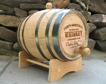 Whiskey Barrel - 2 Liter Personalized Mini Oak Whiskey Barrel - Galvanized Steel Hoops - Handcrafted Toasted American White Oak