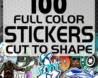 100 Custom Vinyl Stickers - Promotional Stickers - Choose your shape - Laminated Stickers - Not ...