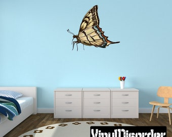 Butterfly Scroll Wall Decal - Wall Fabric - Vinyl Decal - Removable and Reusable - ButterflyUScolor006ET