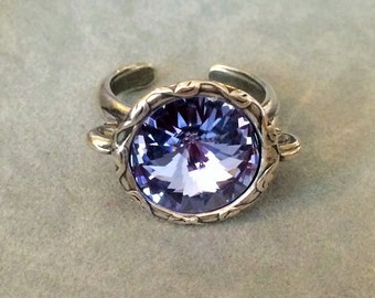 Provence Lavender Swarovski Crystal Ring, Periwinkle Ring, Antique Silver Plated Pewter Adjustable Ring