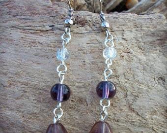 Purple teardop glass earrings
