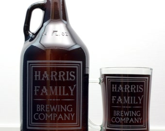 Custom Growler and 2 Glass set with Simple Old School Family Name Brewing Label Design. Homebrew, Beer, Beer Gift, , Beer Glass, Beer Tools