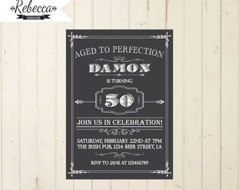 Beer invitation whisky invitation man birthday invitation 21st birthday 30th birthday 40th birthday 50th birthday 60th invitation milestone