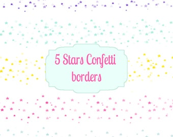 Stars Confetti Border set  - 5 Bright Colourful Digital borders - for Scrapbooking, Crafts, Invitations, Digital Scrapbooking
