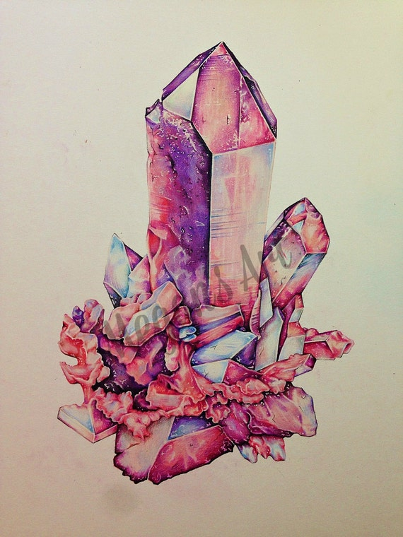 Items similar to crystal cluster print of original on etsy for Paintings of crystals