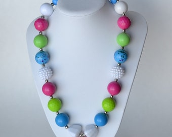 Pink & Turquoise CHUNKY necklace with acrylic beads, tiger tail stringing, and metal toggle clasp