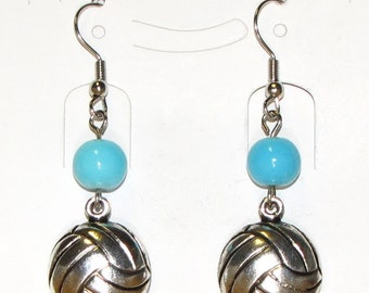 Volleyball earrings with antique silver plated volleyball charms