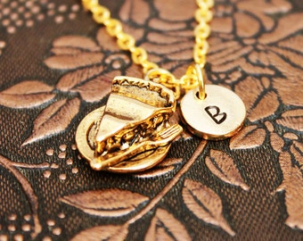 Gold Pie Necklace, Initial Necklace Personalized Necklace Engraved Necklace Custom Necklace Food Necklace Monogram Necklace Charm Necklace