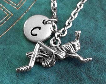 Silver Grasshopper Necklace, Grasshopper Pendant, Personalized Necklace, Grasshopper Jewelry, Monogram Necklace, Grasshopper Charm Necklace