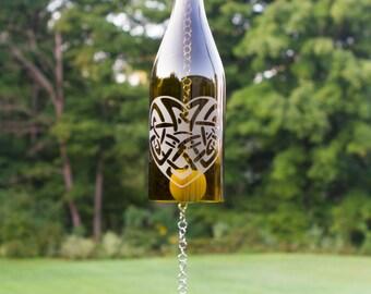 Windchime - Wine Bottle Windchime - Celtic Heart Design - WG5