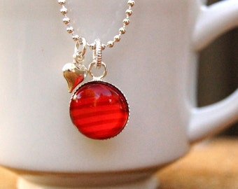Starbucks Jewelry, Ecofriendly Jewelry, Upcycled Pendant, Holiday Jewelry, Stripes, Red Charm, Recycled Gift Cards