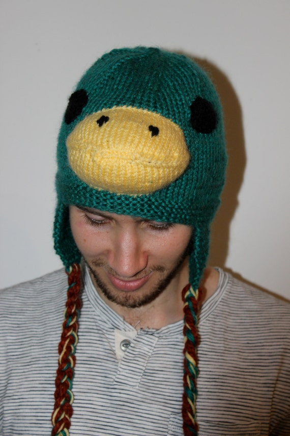 Knitting Pattern For Duck Hat : Knitted Mallard Duck Hat Hand Knitted Duck Ski Hat by OtterDen