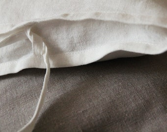 Linen Sham - White Pure Linen Pillowcase - Linen Euro Shams - by LINENSPACE | 0006