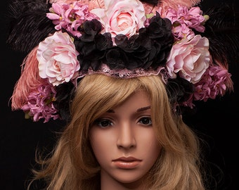 SALE**** Ready to Ship beautiful Wedding Headpiece black and pink Flowers Karneval Rio Burlesque Headdress