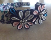 Kanzashi headband patterned with blue flower blue, pink and white!