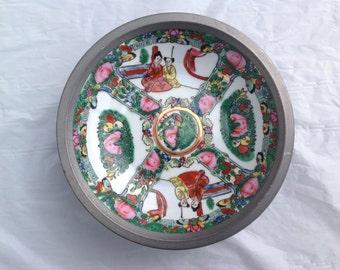 Exquisite T.F.F. Japanese Pewter Encased Porcelain Bowl