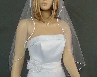 Satin Rattail, Wedding Veil, Fingertip Length, Bridal Veil, One Layer Veil