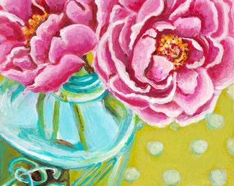 Floral art print, ball jar art, peonies still life from my original acrylic painting. Available in two sizes