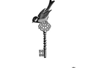 Victorian Bird and Key Wickedly Lovely skin art  temporary tattoo (includes 2 tattoos)