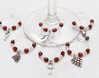 Wine Glass Charms, mauve, Set of 6