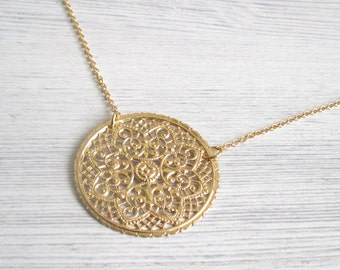 Gold Lace Necklace - Gold Circle Pendant - Dainty Gold Necklace - Simple Gold Necklace - lace necklace - filigree necklace - lace jewelry