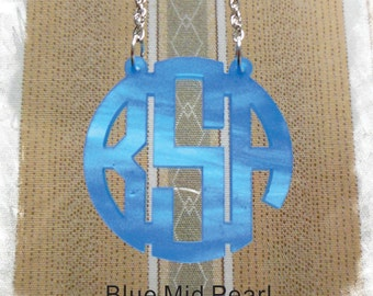 Monogram Necklace - Custom Handmade Circle Monogram 3 Initial Name Acrylic Monogram Jewelry - Blue Pearl Necklace