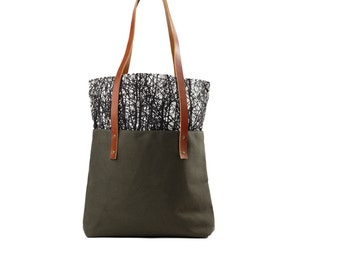 Printed Snap Top Tote Bag, Canvas tote, Black and White Tote, Large Canvas Tote, Green Bag, Color Block Purse, Brown Leather BagTree Print