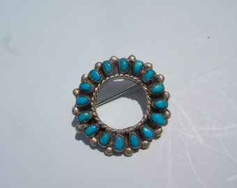 Native American Turquoise Brooch