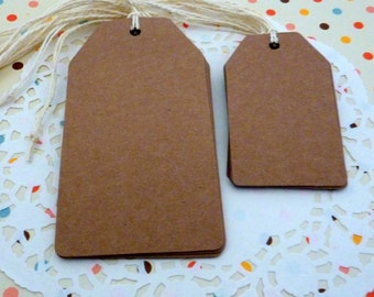 20 Brown Kraft Paper Gift Tags Price Tag Crafts in 2 Sizes