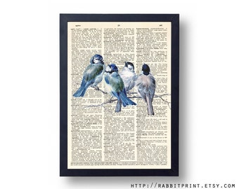 Blue Bird Dictionary art print, 8x10 Vintage Blue Birds Wall Decal, illustration Dictionary page print, Poster Wall Art Decor