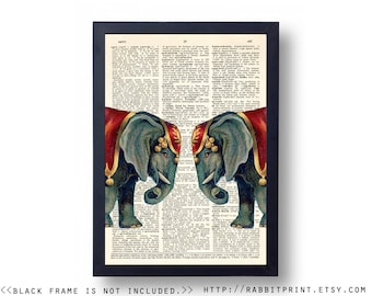 Circus Elephant Wall Art Print, Dictionary Page Print, 8x10 Home Wall Decor, Upcycled Book Paper Art, illustration  Poster