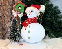 Snowman hand painted gourd diorama with birdhouse,and Christmas tree,gourd art by Debbie Easley
