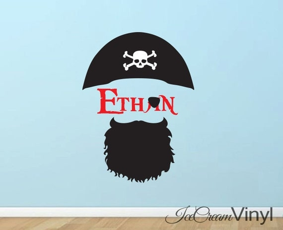 Pirate Name Vinyl Wall Decal for Boys Girls Room Play Room Nursery Personal Name Childrens Decor