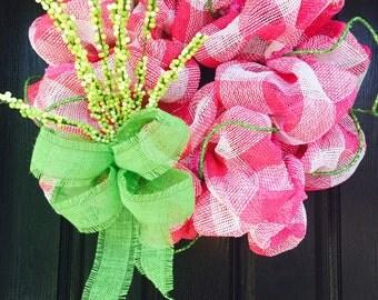 Spring Wreath, Spring Mesh Wreath