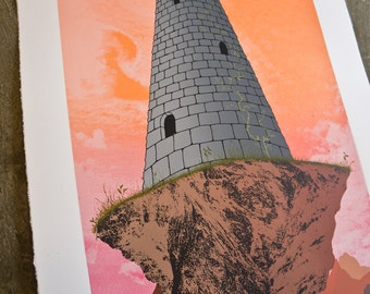 Tower in The Sky screen print