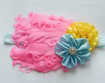 Pink Yellow and Light Blue Feather Pad Headband