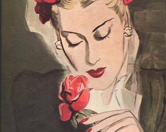 SOLD to Berit - Original Harpers magazine woman with rose; reverse is Dana's Precious Platine perfume, 1940s - 205