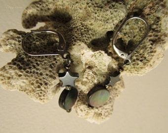 3043 - Earrings Pearl  and Hematite