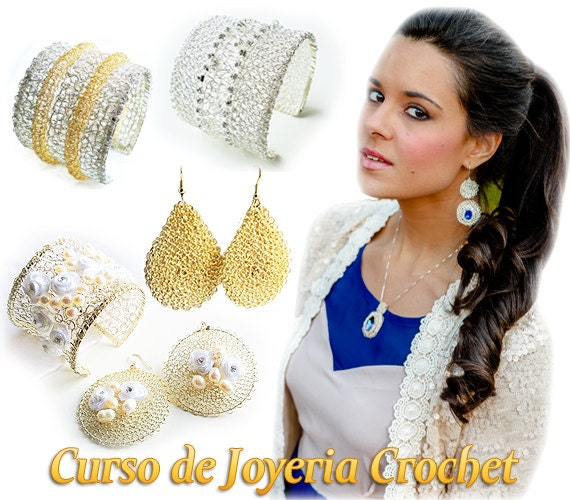 Curso de Joyería Crochet: Cómo crear tus propios brazaletes, colgantes, anillos y aretes - PDFs y VIDEOS ** Oferta de 3 dias **
