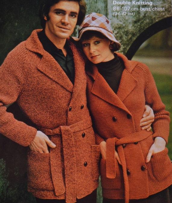 Knitting Pattern Mens Raglan Cardigan : Vintage knitting pattern mens womens raglan cardigan jacket